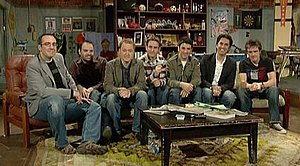 The Chaser - The full Chaser team (from left to right), Julian Morrow, Dominic Knight, Charles Firth, Craig Reucassel, Chas Licciardello, Chris Taylor, and Andrew Hansen appearing on the War on Everything studio together.