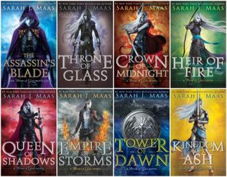 Throne of Glass - The covers of the eight books of the series