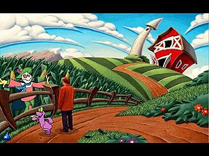 Toonstruck - The iconic barn, before it is struck by the Malevolator's beam. Drew can be seen talking to the Carecrow as Flux is walking away