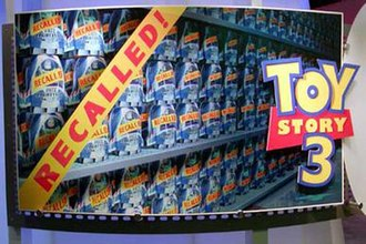 Toy Story 3 - Promotional art for Circle 7's Toy Story 3 at Siggraph 2005, displaying the storyline of the recalled Buzz Lightyears.