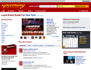 Upcoming - Upcoming homepage in October 2008