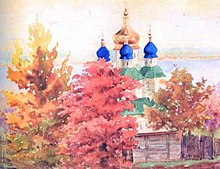 Painting by Olga of a Russian church with blue onion domes, partially obscured behind trees in autumnal colours