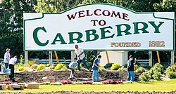 Carberry welcome sign on Highway 5