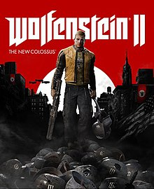 "The game's cover art. The text ""Wolfenstein II"" is in the centre, with the text ""The New Colossus"" written underneath it, aligned to the left. Underneath and in front of the text is the game's protagonist, B.J. Blazkowicz, walking through a pile of enemy soldiers with Nazi buildings in the background."