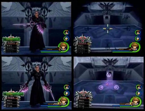 Kingdom Hearts II - Xigbar's telescopic sight view and his weapons were altered from the Japanese version (top) to the English version (bottom).