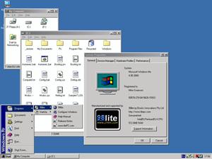 Software remastering - Desktop of Windows Me with 98lite