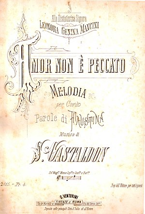 "Stanislao Gastaldon - First edition of the score for ""Amor non è peccato"", dedicated to Leonora Genina Mancini"