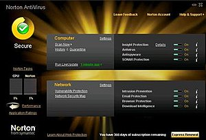 The main GUI of Norton AntiVirus 2010
