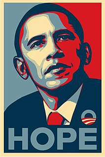 "Barack Obama ""Hope"" poster image of Barack Obama designed by artist Shepard Fairey"