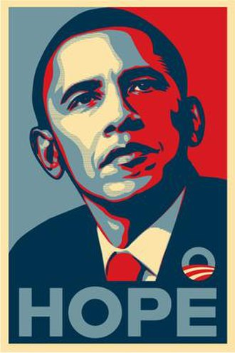 "Barack Obama ""Hope"" poster - The most widely distributed version of Shepard Fairey's Obama poster, featuring the word ""hope"". Other versions used the words ""change"" and ""progress""."