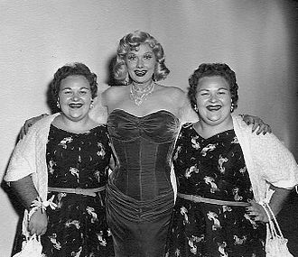 "Nightclub act - The Borden Twins on the set with Lucille Ball prior to the filming of their episode, ""Tennessee Bound""."