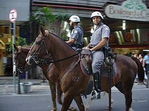 Military police - São Paulo State Military Police mounted police officers in São Paulo.