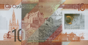 Clydesdale Bank £10 note - Image: Clydesdale Polymer £10 Back