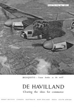 De Havilland Mosquito - A 1943 advertisement for de Havilland taken from Flight & Aircraft Engineer magazine highlights the speed of the B Mk IV.