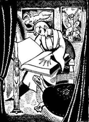 À rebours - Des Esseintes in his study, by Arthur Zaidenberg (Against the Grain, New York, Illustrated Editions, 1931).