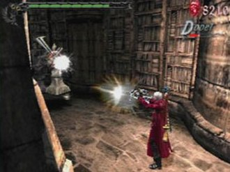 Devil May Cry 3: Dante's Awakening - Dante firing Ebony and Ivory at an opponent