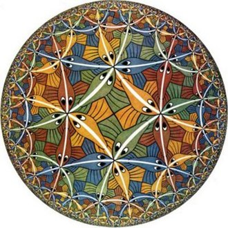 Hyperbolic geometry - M.C. Escher's Circle Limit III, 1959