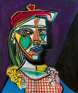 <i>Femme au béret et à la robe quadrillée (Marie-Thérèse Walter)</i> Painting by Pablo Picasso