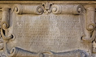 William Wells (soldier) - Plaque under Michigan Avenue bridge, Chicago