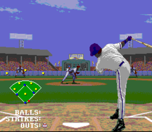 Frank Thomas Big Hurt Baseball - In this screenshot, the batter sends the ball flying far away. On the scoreboard, there is also an endorsement for the athletic shoe company Reebok.