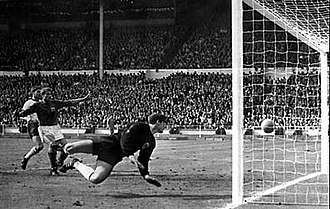 "Ghost goal - Geoff Hurst's ""Wembley goal"" during the 1966 World Cup final."