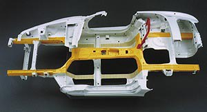 Honda S2000 - X-bone frame (yellow) used in the construction of the S2000 chassis