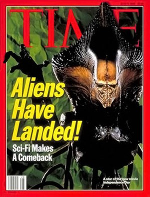 Independence Day (1996 film) - One of the film's creatures on the cover of the July 8, 1996 issue of Time.