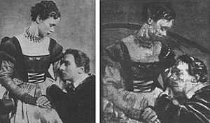 Bertram Park - Jessica Tandy and John Gielgud in Hamlet. Photograph by Bertram Park (1934, left) and painting by Walter Sickert (1935, right) (whereabouts unknown)