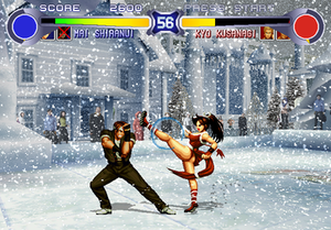 The King of Fighters '94 - A screenshot of The King of Fighters '94 Re-Bout, showing Kyo and Mai Shiranui