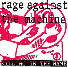 "Black-and-white photo of man in flames. In black letterbox border is white text ""rage against the machine; killing in the name."""