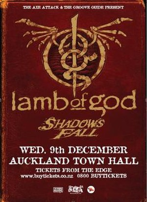 Wrath Tour - Promotional poster advertising the Lamb of God concert held in Auckland in December 2009.