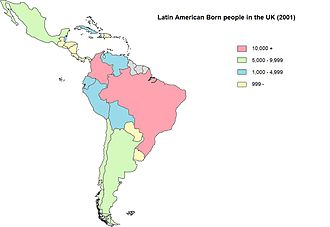 Latin American migration to the United Kingdom - Latin American-born people in the United Kingdom in 2001