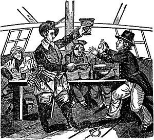 Edward Low - Low presenting a Pistol and Bowl of Punch, from A Pirate's Own Book (1837)