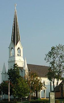 Lombard's Maple Street Chapel, built in 1870, served as the village's first town hall and library.