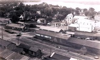 Pine City, Minnesota - Historic Pine City Aerial, overlooking the railroad