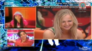 Pinoy Big Brother: Double Up - Swap Housemates Cathy from the Philippines (upper left) and Kätlin from Finland (right) finally meet through Skype.
