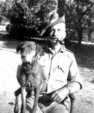 Kenneth Anderson (writer) - Kenneth Anderson and his pariah dog Nipper, whom he adopted during his hunt for the Leopard of Gummalapur
