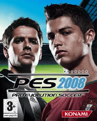 Pro Evolution Soccer 2008 - European cover of Pro Evolution Soccer 2008, featuring Michael Owen (left) and Cristiano Ronaldo (right)