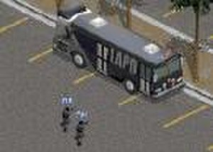 Police Quest: SWAT 2 - A sniper element by the SWAT Bus.