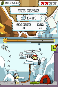 "A screenshot of Scribblenauts in the level ""The Peak"""
