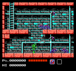 Teenage Mutant Ninja Turtles (NES video game) - Leonardo surrounded by Mousers in the sewer