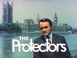 Series title over an image of Robert Vaughn and the Houses of Parliament