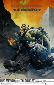 Official poster with Frank Frazetta illustration of Clint Eastwood with ripped off shirt and jeans, holding his gun and hugging Locke, behind them is a ruined bus. Below the duo are the film's title, credits, and release date, above them is the film's slogan.