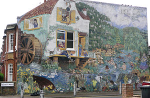 Brixton murals - Big Splash, on Glenelg Road (London, SW2) by Christine Thomas, assisted by Dave Bangs and Diana Leary – 1985.