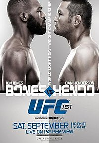A poster or logo for UFC 151: Jones vs. Henderson.
