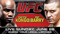 A poster or logo for UFC Live: Kongo vs. Barry.
