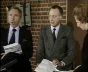 Yes Minister - Hawthorne and Eddington performing the sketch with Margaret Thatcher in January 1984.