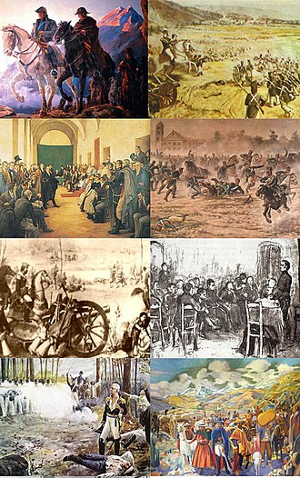 Argentine War of Independence - From top and left: Crossing of the Andes, Battle of Salta, 22 May 1810 Open Cabildo, Battle of San Lorenzo, Battle of Suipacha, 1813 Assembly, Shooting of Liniers, Jujuy Exodus.