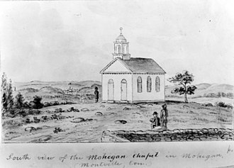 "Montville, Connecticut - South View of Mohegan Chapel, Monhegan in Montville, a sketch by John Warner Barber for his Historical Collections of Connecticut (1836). According to the Connecticut Historical Society, the chapel was constructed in 1831 with funds from ""benevolent ladies in Norwich, Hartford and New London"" as a church for Mohegan and white residents of the reservation in Montville."