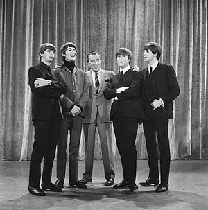 Beatlemania - Ed Sullivan and the Beatles, February 1964, during rehearsals for the group's first live performance on Sullivan's popular television variety show.